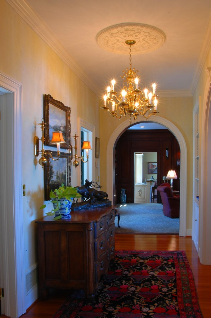 Gorgeous Side Hall.  Exquisite moldings and architectural details.